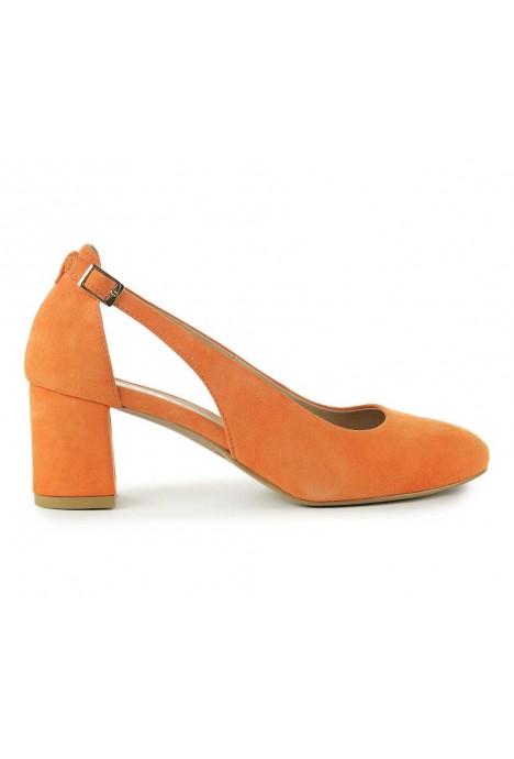 Pomarańczowe zamszowe czółenka Lenora