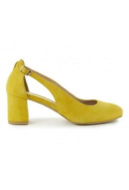 Żółte zamszowe czółenka Lenora