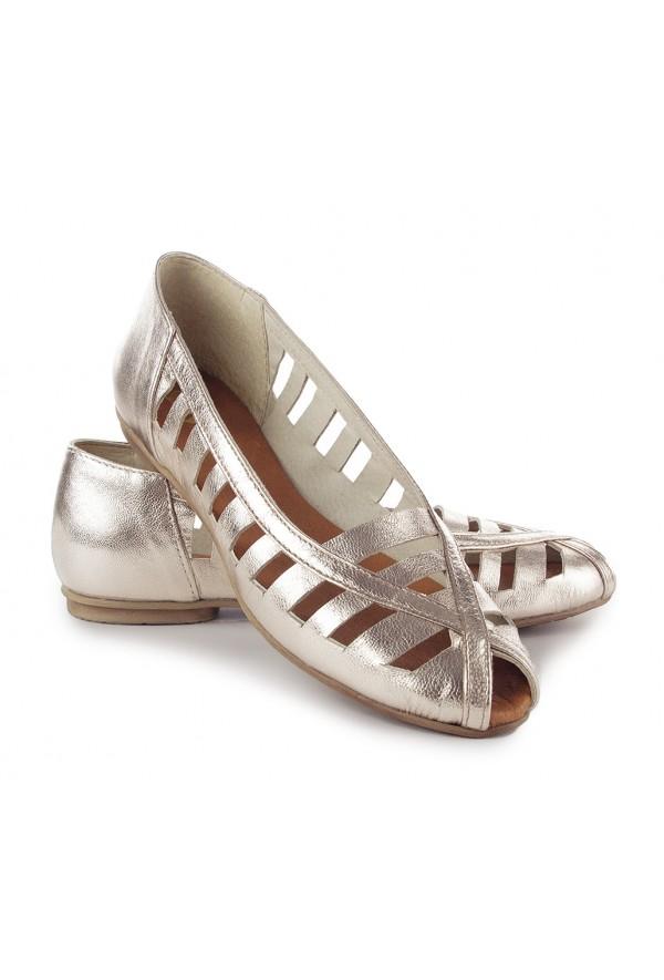 Złote ażurowe baleriny Gina