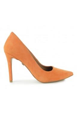 Pomarańczowe zamszowe szpilki Brina