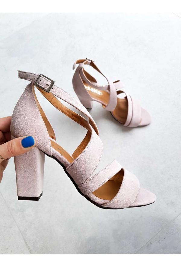 Zamszowe sandały Elaina pudrowy róż