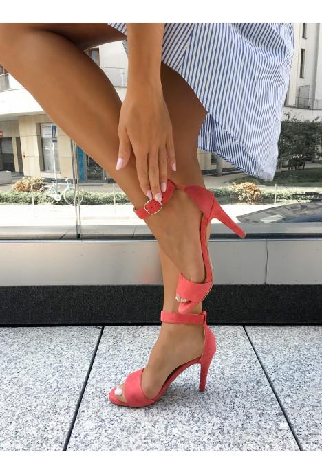 Zamszowe sandały Paris koral