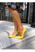 Żółte zamszowe szpilki Kelly