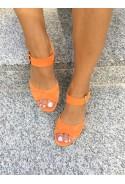 Pomarańczowe zamszowe sandały Santa