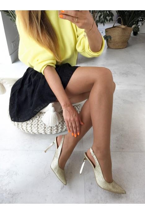 Złote brokatowe szpilki Charlotte