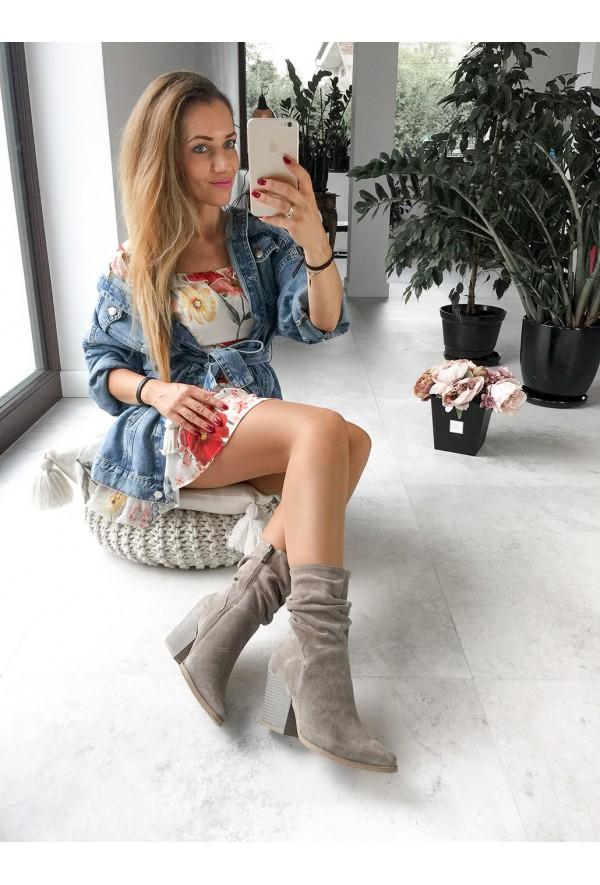 Zamszowe kowbojki Leilani cappuccino