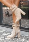 Beżowe zamszowe botki Imala
