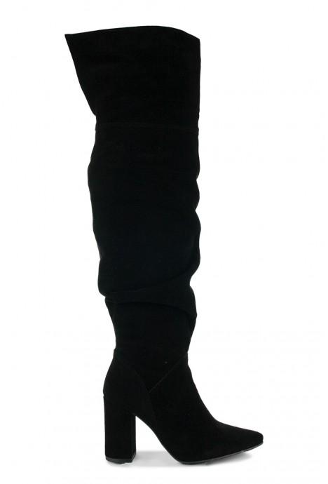 Czarne zamszowe kozaki marszczone 41