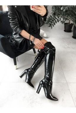 Czarne lakierowane kozaki Ginette