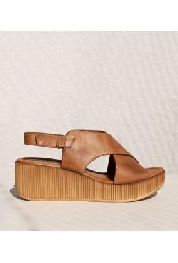 Brązowe sandały na koturnie Taslima