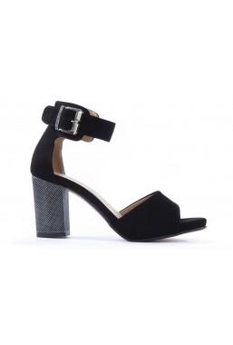 Czarne zamszowe sandały Roseanna