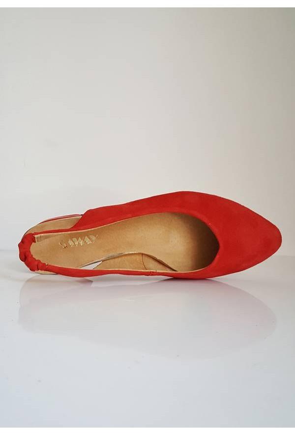 Zamszowe czerwone baleriny Maledi