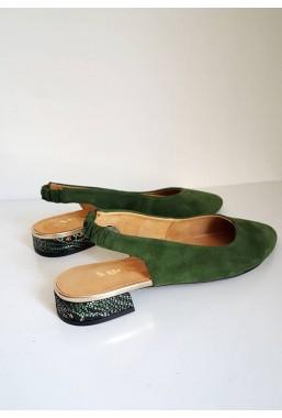 Zamszowe zielone baleriny Maledi