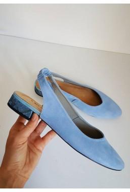 Zamszowe błękitne baleriny Maledi