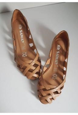 Ażurowe baleriny Maui jasny brąz