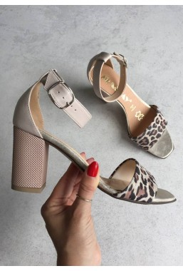 Beżowe sandały Anina panterka