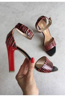 Czerwone sandały Anina zebra