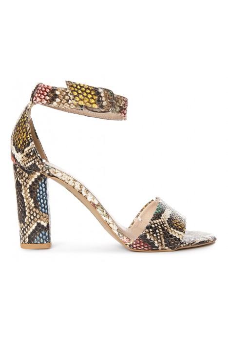 Wężowe sandały na słupku Lillie