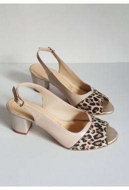 Beżowe sandały Linza panterka