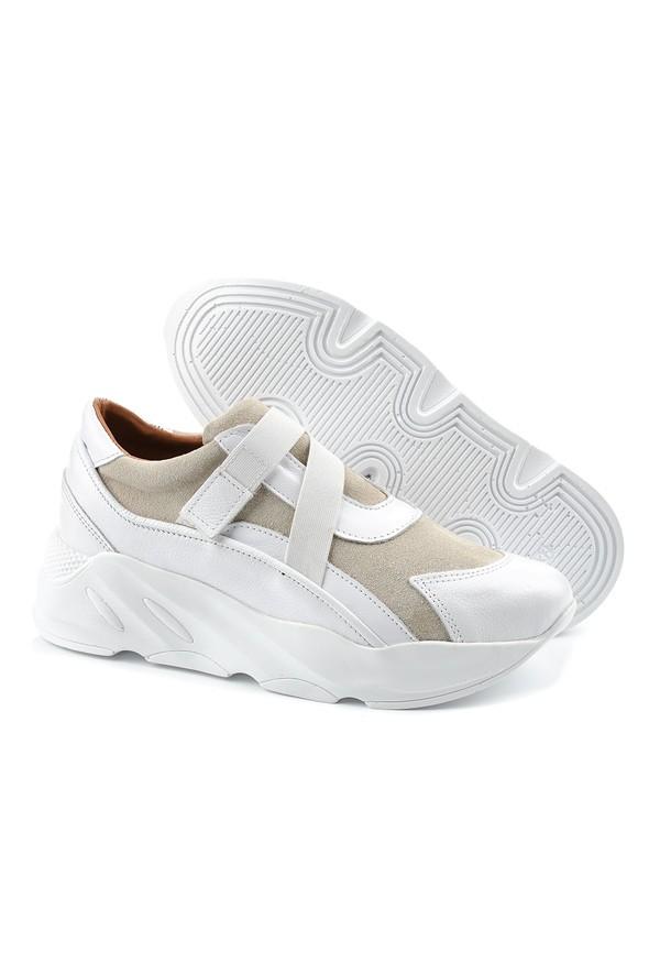 Sneakersy Unice biało beżowe