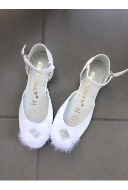 Eleganckie białe buty dla dziewczynki na komunię Remy