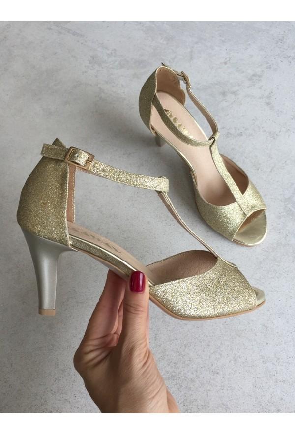 Złote sandałyi Lettina