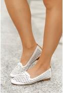 Białe ażurowe baleriny Alanna