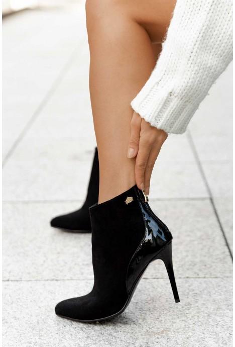 Czarne zamszowe botki na szpilce botki Riya