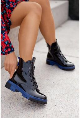 Czarne lakierowane botki Rikka blu