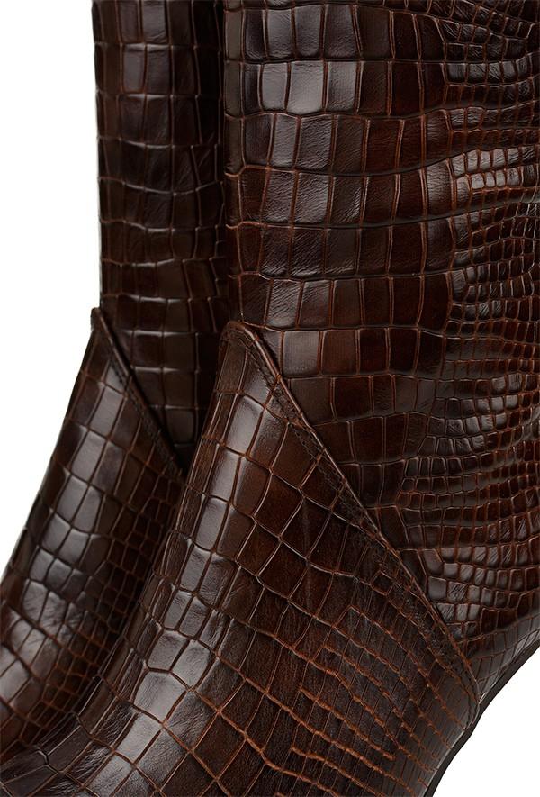 Brązowe wężowe kozaki Lennie