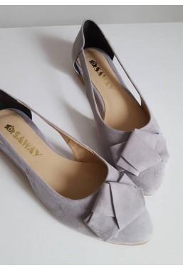 Zamszowe baleriny z wycięciami Derry grey