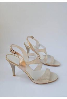 Złote sandały na szpice Dorita