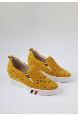Żółte trampki na koturnie Marcia