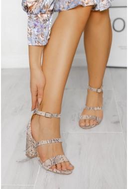 Wężowe sandały Harleen beż