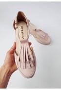 Zamszowe baleriny Emiliana pudrowy róż