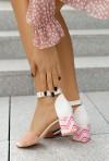 Białe sandały na słupku Shaunie