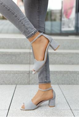 Szare zamszowe sandały na słupku Alara