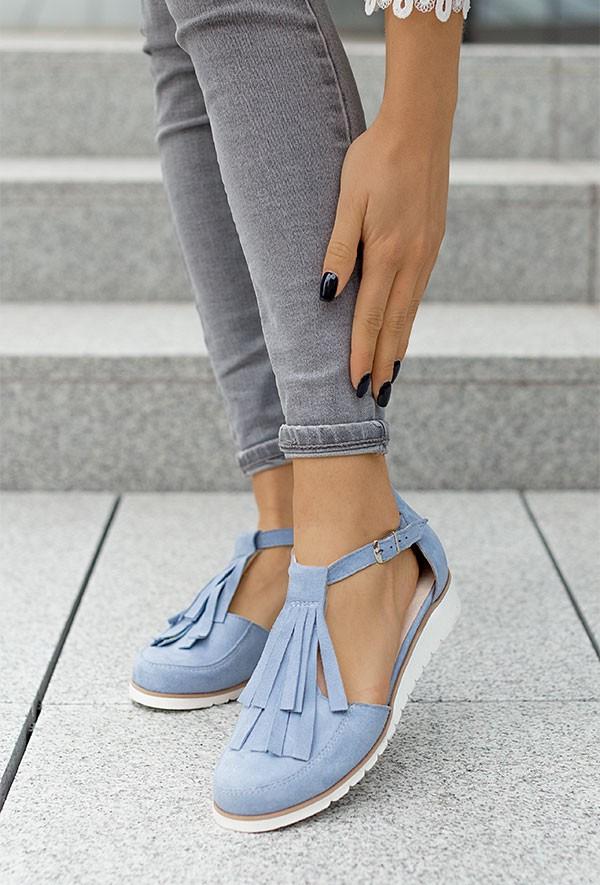 Zamszowe baleriny Emiliana błękit