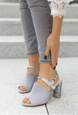 Zamszowe sandały na słupku Kendra szary