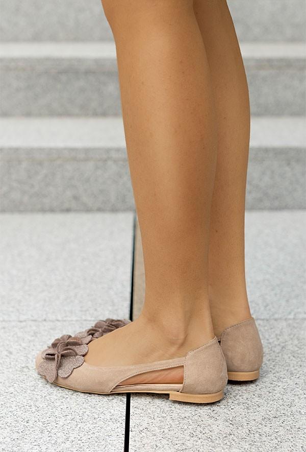 Zamszowe baleriny Micaela cappuccino