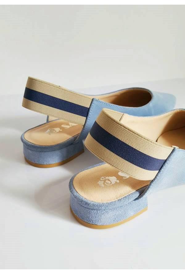 Zamszowe błękitne baleriny Rute
