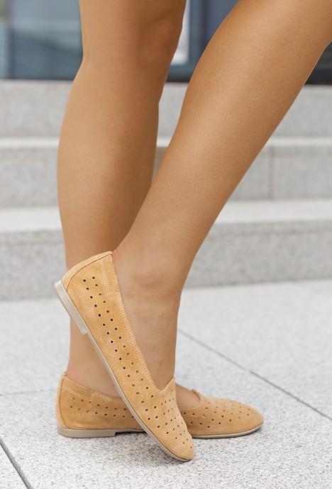 Zamszowe baleriny Arianna camel