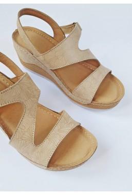 Beżowe sandały na koturnie Sunny