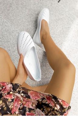 Białe ażurowe baleriny Ingrid