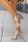 Srebrne sandały na słupku Agota