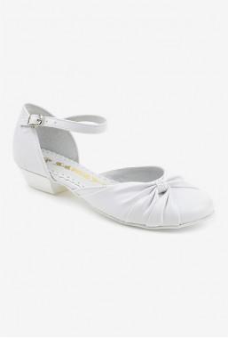 Eleganckie białe buty dla dziewczynki na komunię Mily