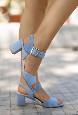 Błękitne zamszowe sandały Santa