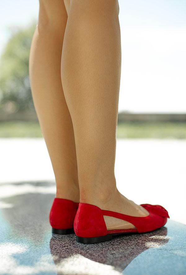 Czerwone zamszowe baleriny Felipa
