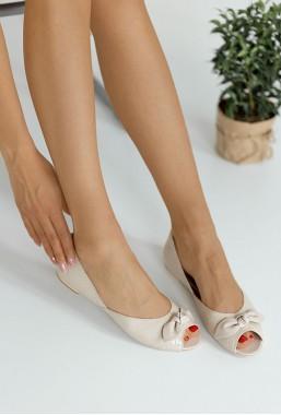 Bezowe baleriny peep toe Roza