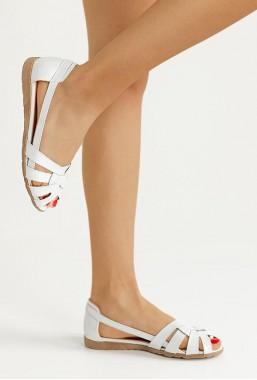 Białe ażurowe baleriny Nicole